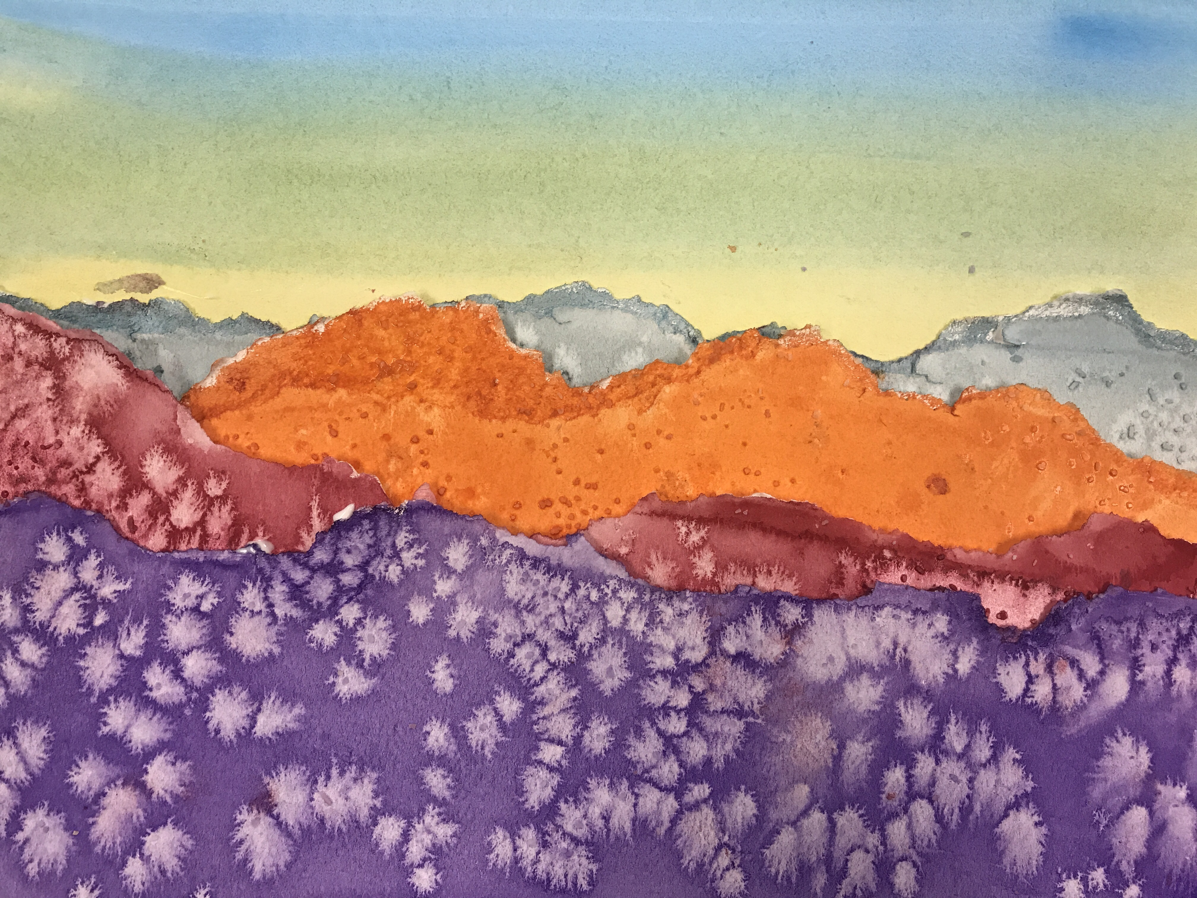WINE DOWN - Torn Watercolor Landscapes!