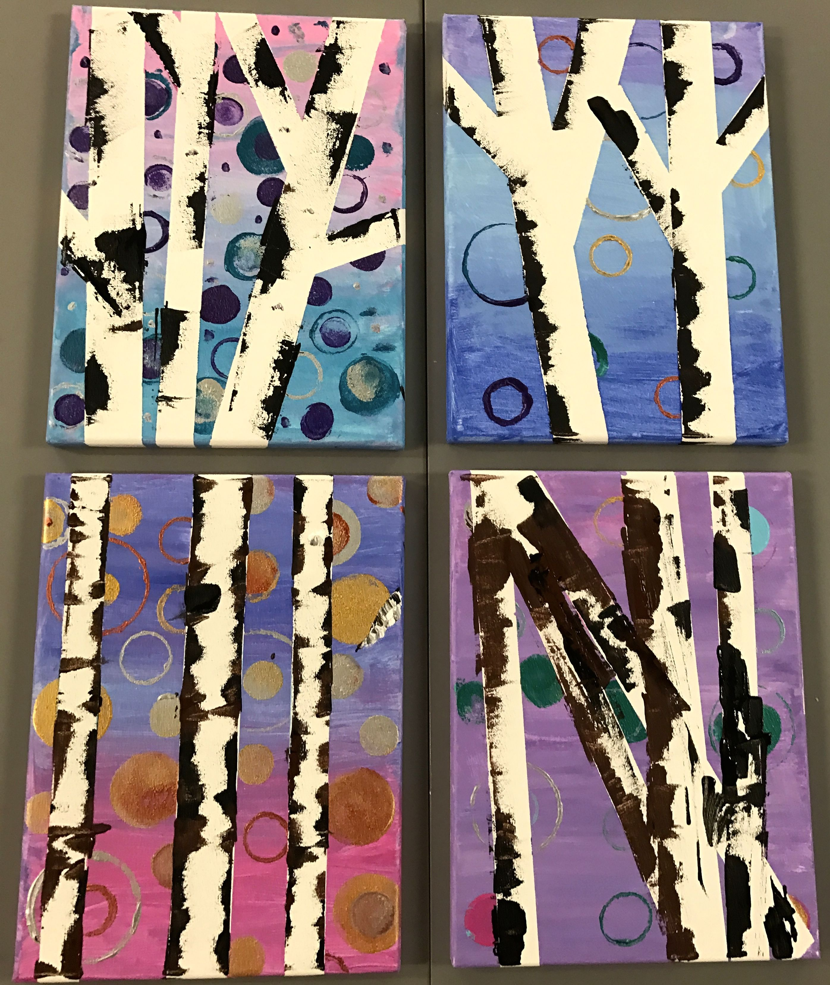 Wine Down Wednesday - Acrylic Painting - Birch trees on wrapped canvas